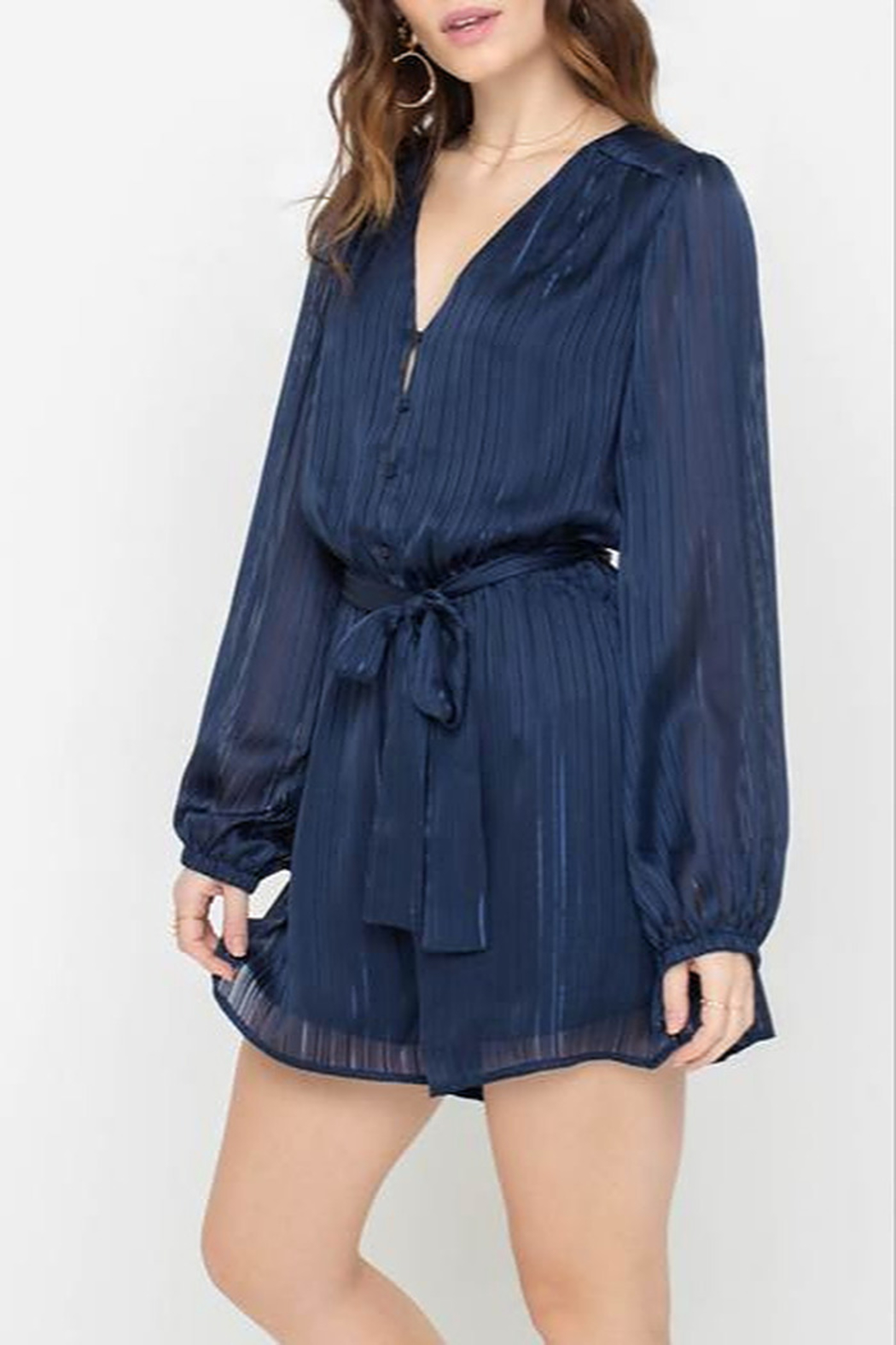 All In Favor Flowy Belted Romper - Main Image