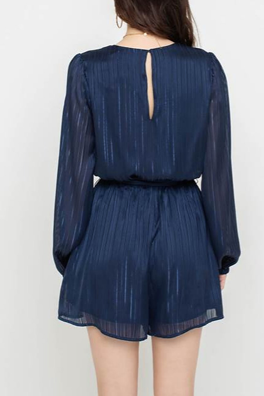 All In Favor Flowy Belted Romper - Front Full Image