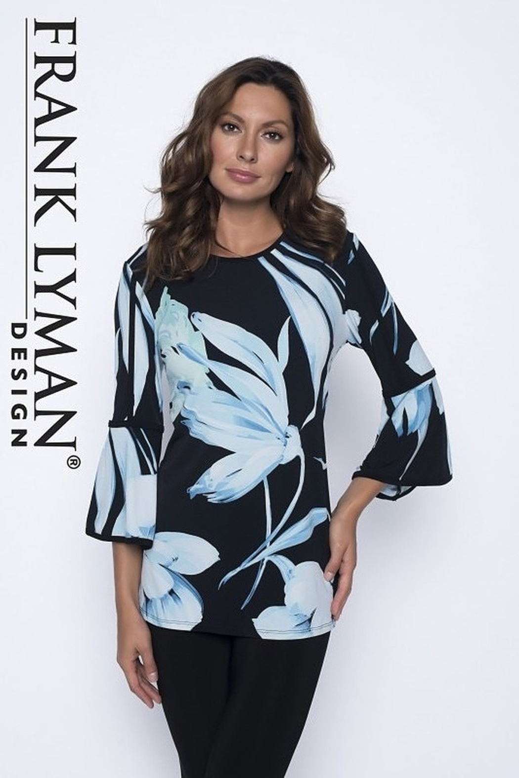 Frank Lyman flowy black top with blue floral print - Main Image