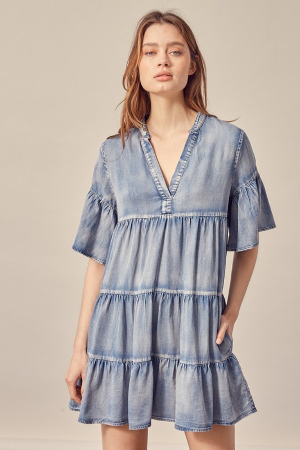 Mustard Seed  Flowy Denim Dress - Front Cropped Image