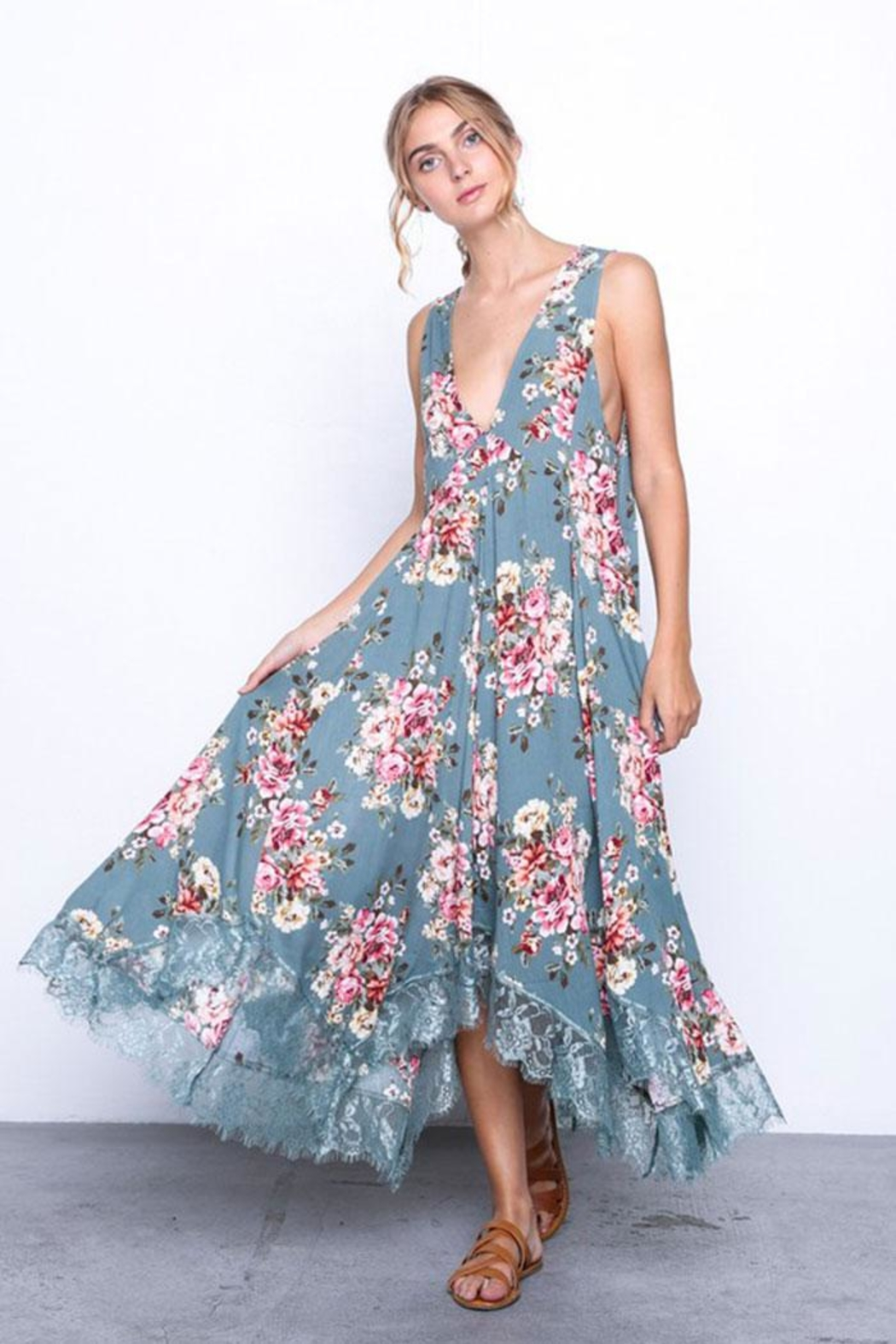 Grade and Gather Flowy Floral Dress - Main Image