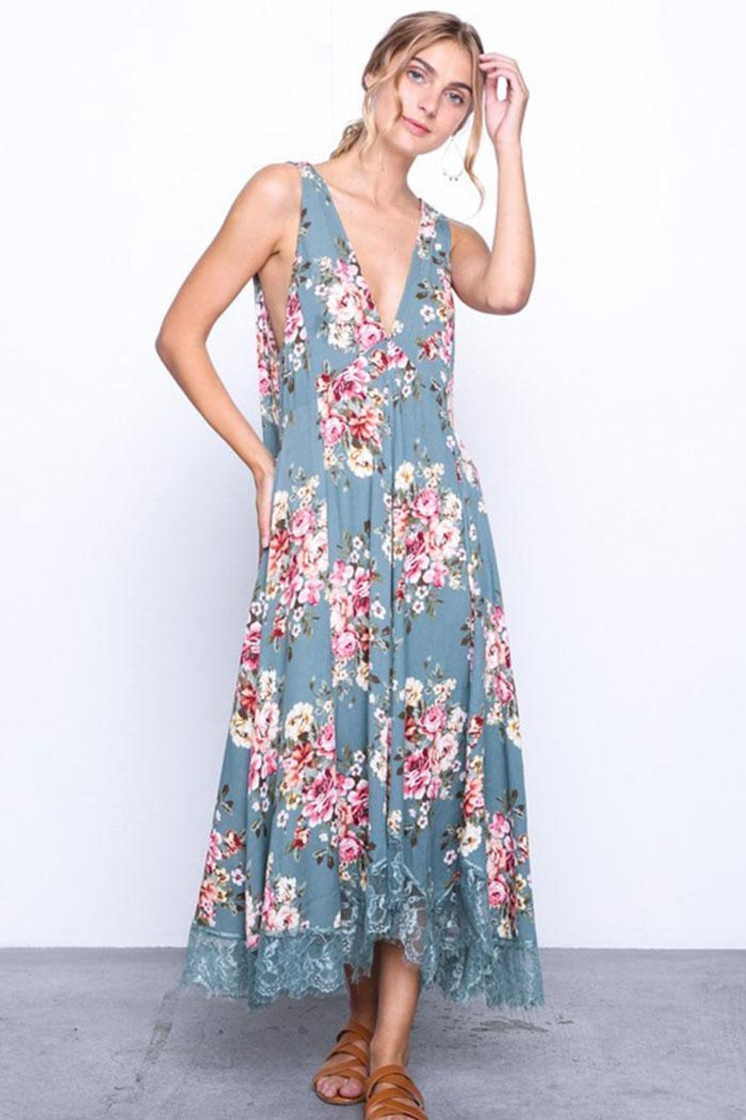 Grade and Gather Flowy Floral Dress - Back Cropped Image