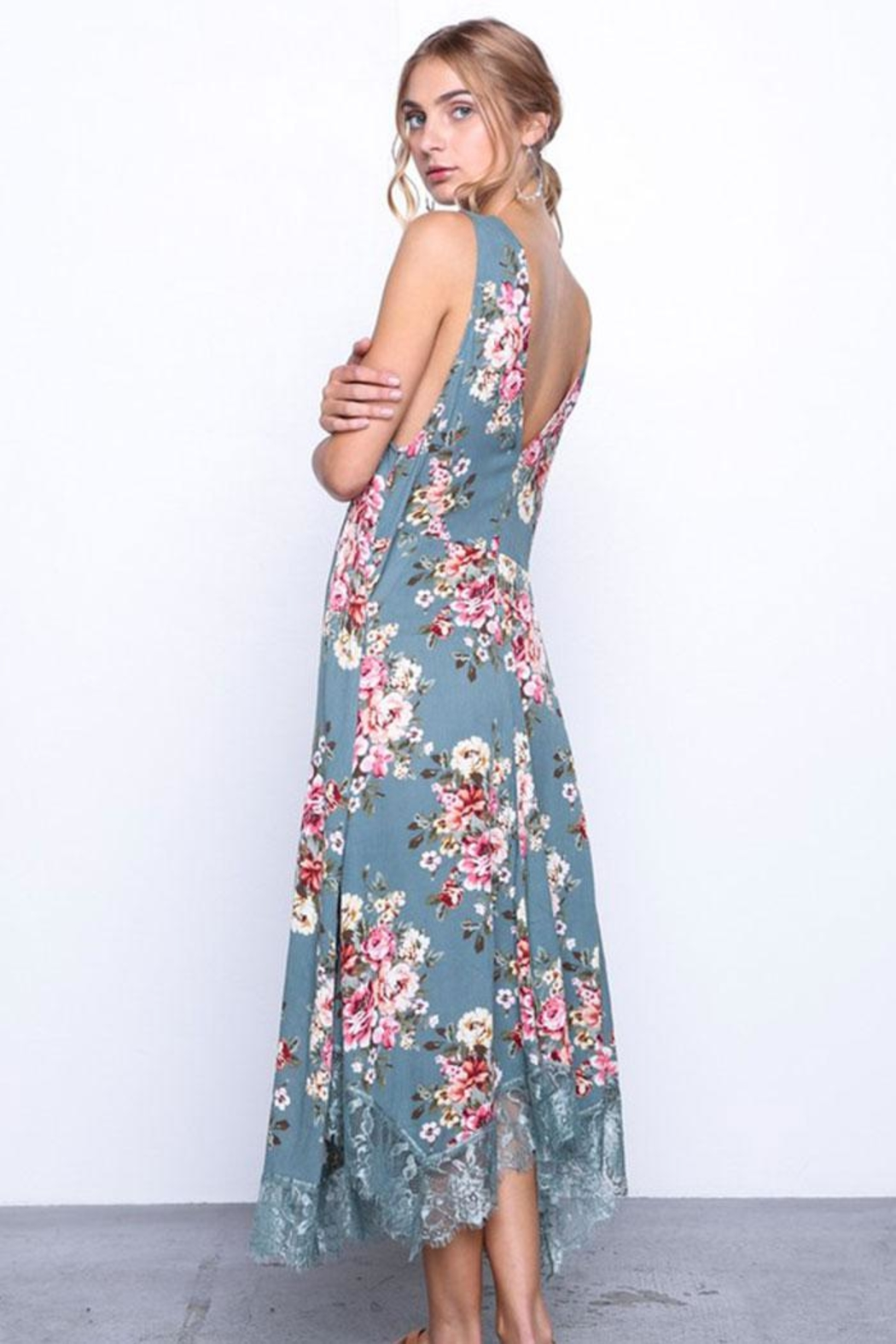 Grade and Gather Flowy Floral Dress - Front Full Image