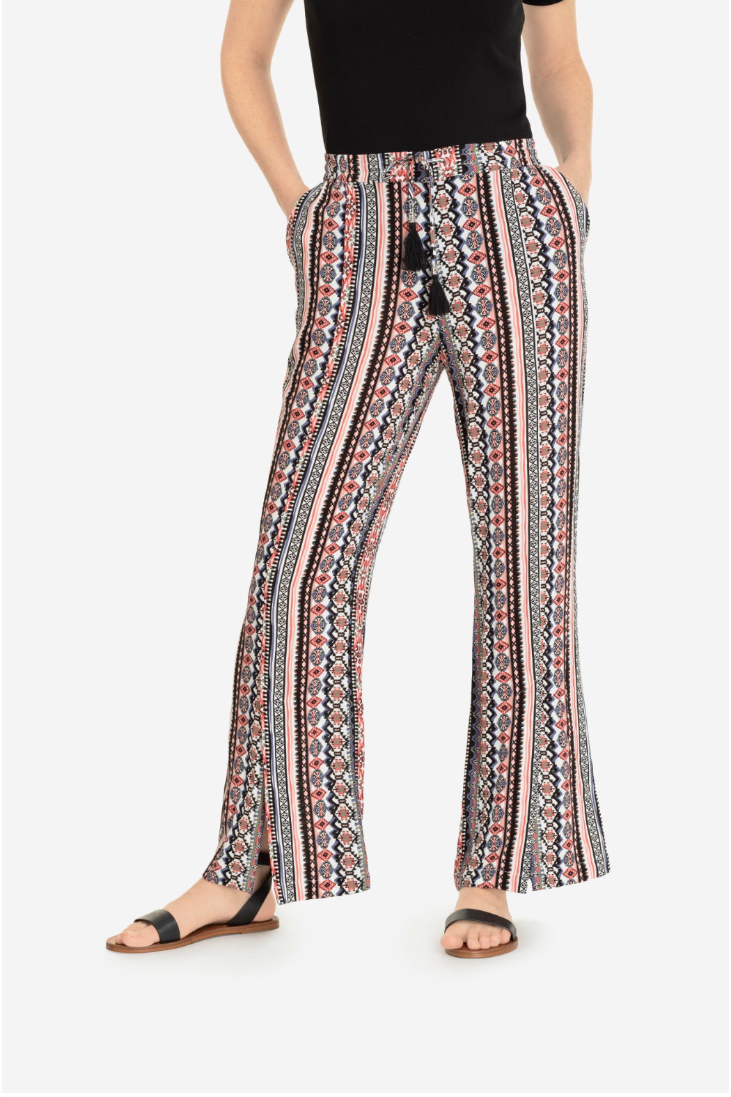 Tribal flowy pant with slit - Main Image