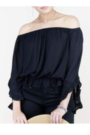 KIMBALS RUFFLED 3/4 SLEEVE COTTON TOP - Product Mini Image