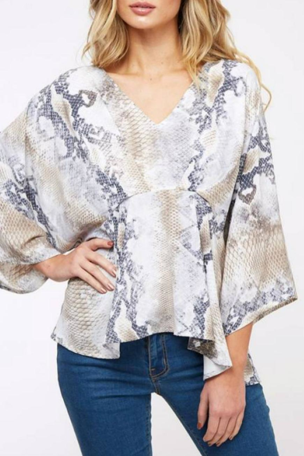 Peach Love California Flowy Snake Top - Front Full Image