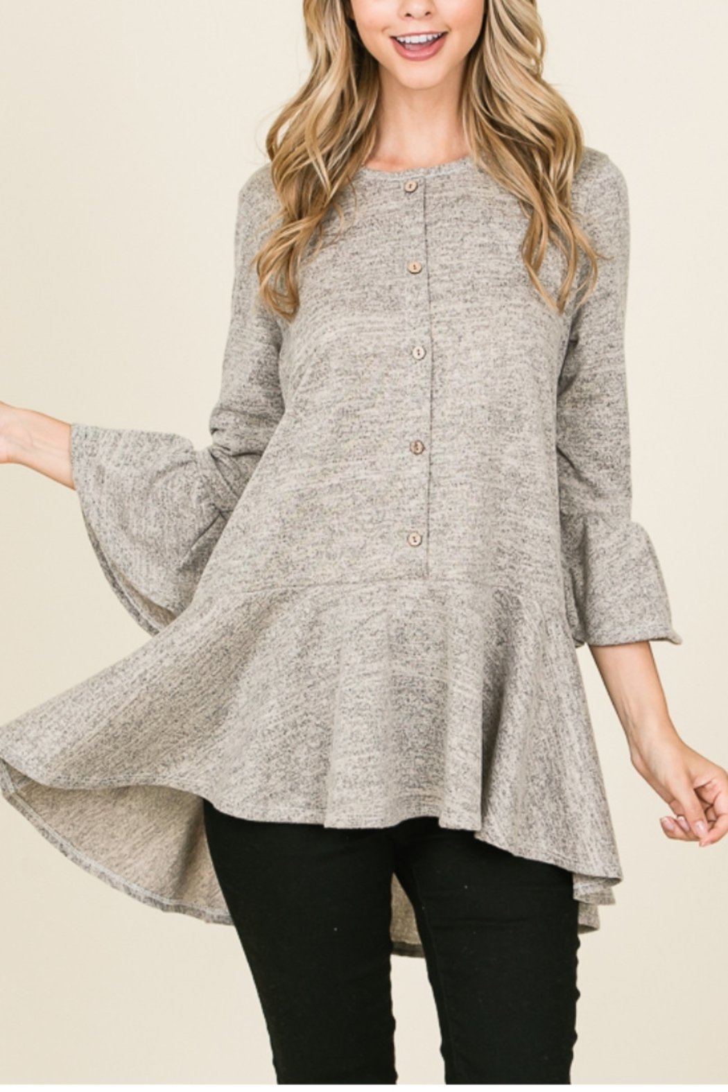Reborn J Flowy, Ultra Soft Tunic with Button Detail {{OLIVE}} - Main Image