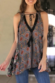 Angie Flowy V-Neck Tank - Front cropped