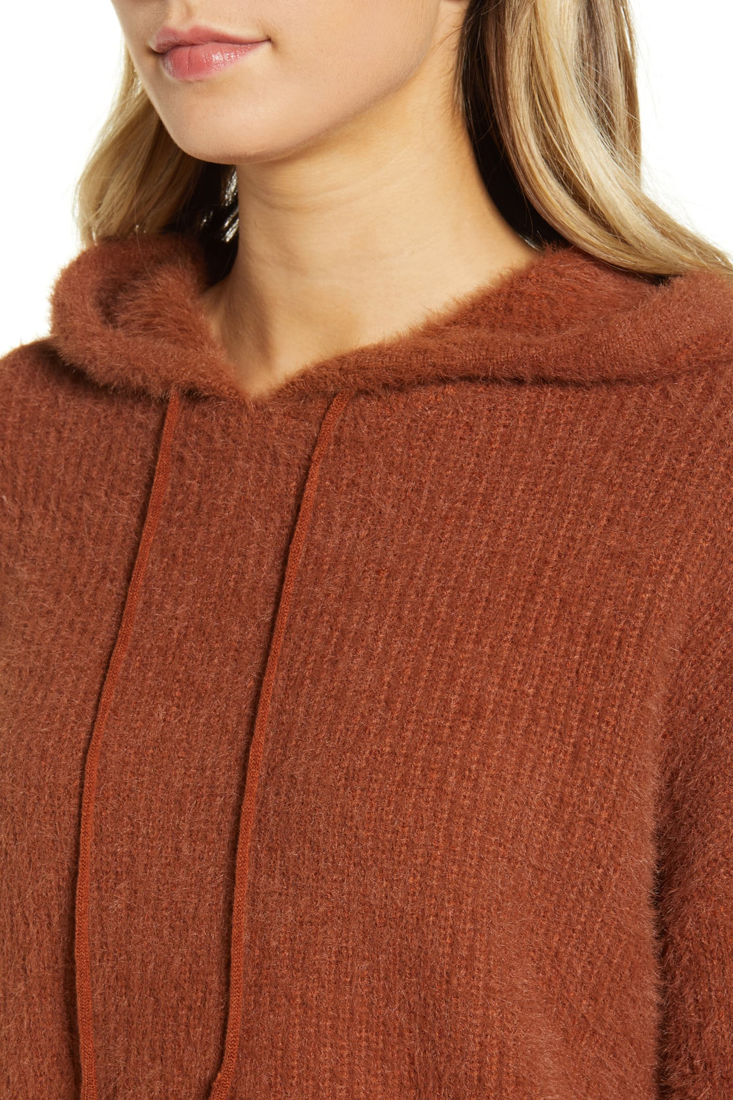 MINKPINK Fluffy Knit Hoodie - Back Cropped Image
