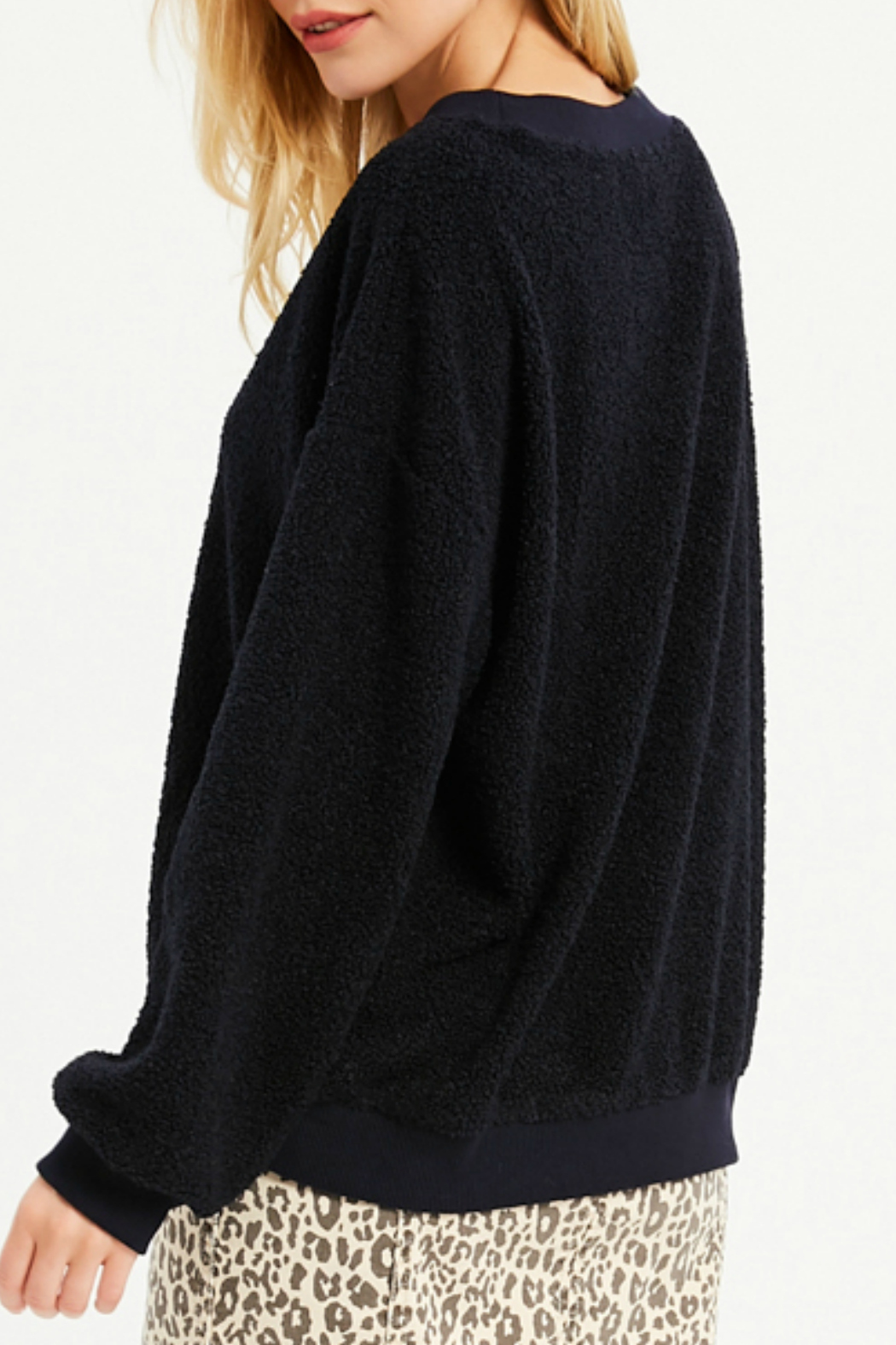 Wishlist FLUFFY V-NECK SWEATER - Front Full Image