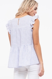 blu Pepper  Flutter Cap Sleeve Striped Top - Other
