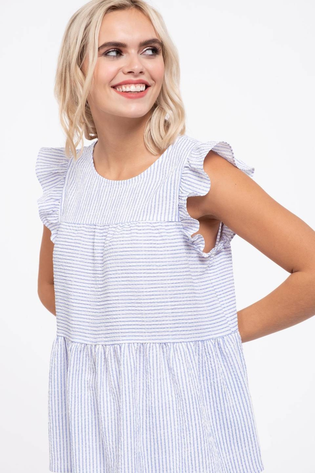 blu Pepper  Flutter Cap Sleeve Striped Top - Back Cropped Image