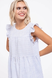 blu Pepper  Flutter Cap Sleeve Striped Top - Back cropped