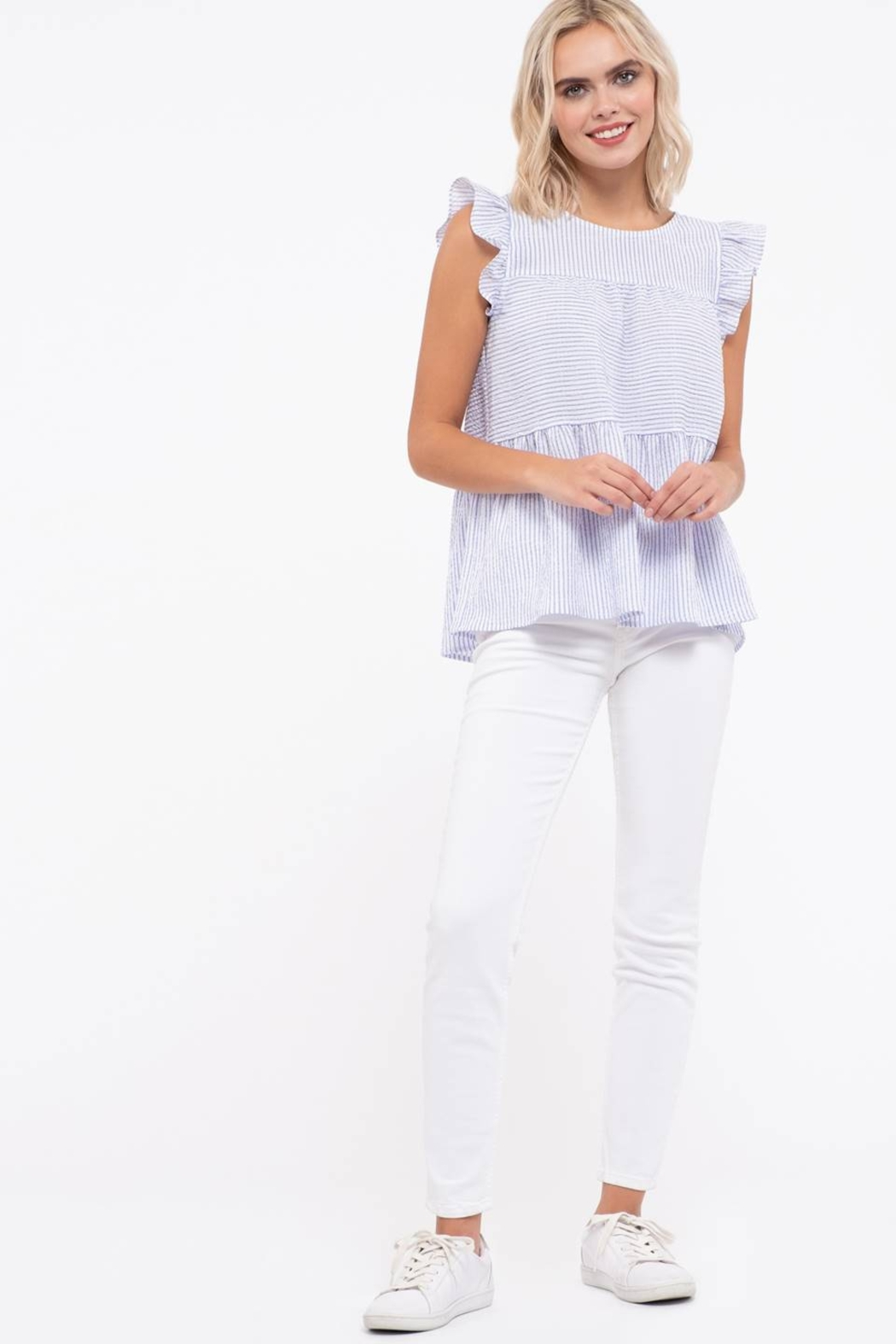 blu Pepper  Flutter Cap Sleeve Striped Top - Front Full Image