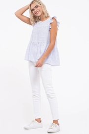 blu Pepper  Flutter Cap Sleeve Striped Top - Front cropped