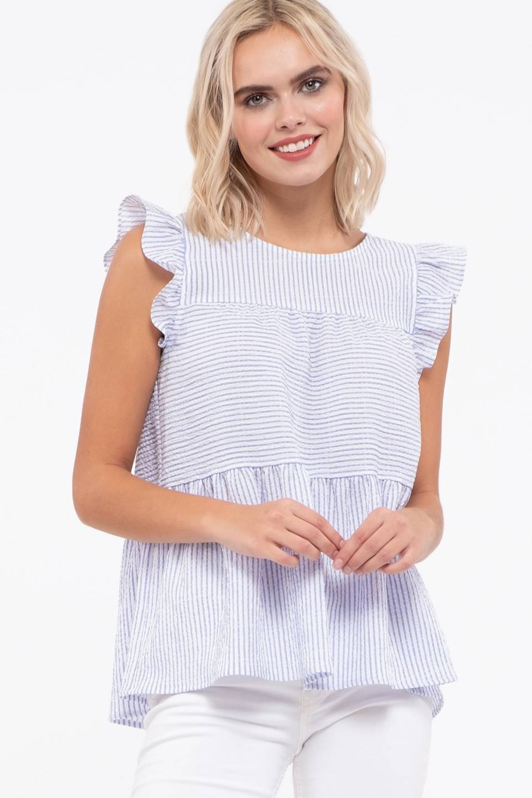 blu Pepper  Flutter Cap Sleeve Striped Top - Side Cropped Image