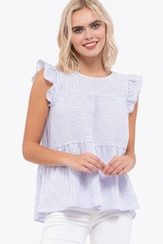 blu Pepper  Flutter Cap Sleeve Striped Top - Side cropped