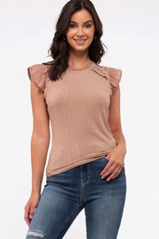 blu Pepper  Flutter Cap Sleeve Top - Front cropped