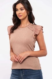 blu Pepper  Flutter Cap Sleeve Top - Front full body