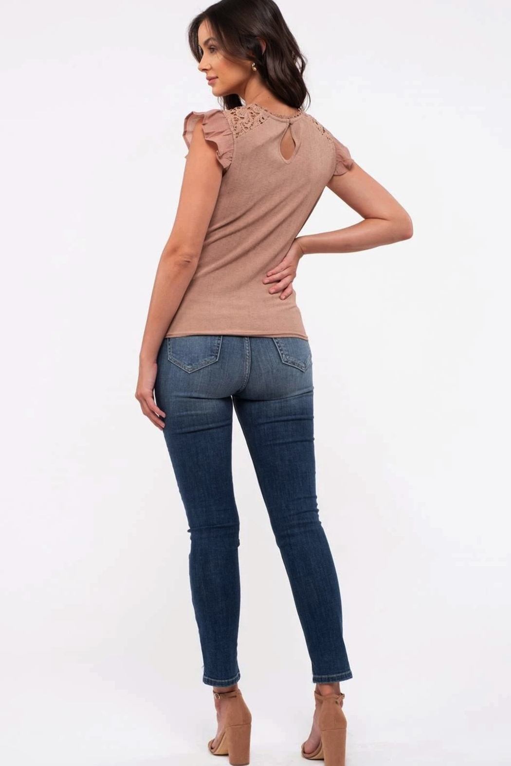 blu Pepper  Flutter Cap Sleeve Top - Back Cropped Image