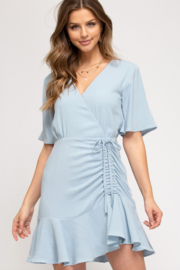 She and Sky Flutter Dress with side Rouching - Product Mini Image