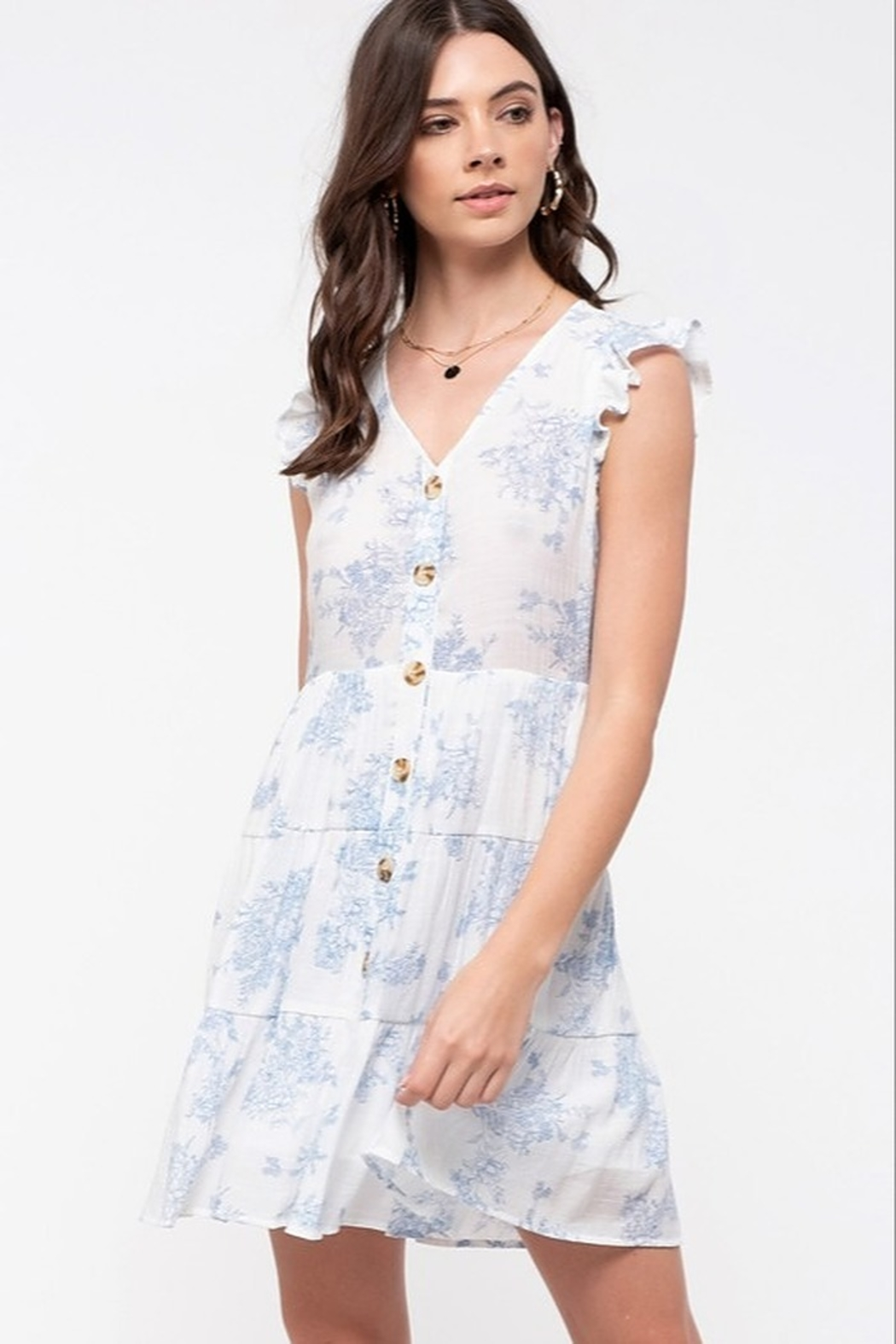 E & M Flutter Sleeve button down mini dress - Front Cropped Image