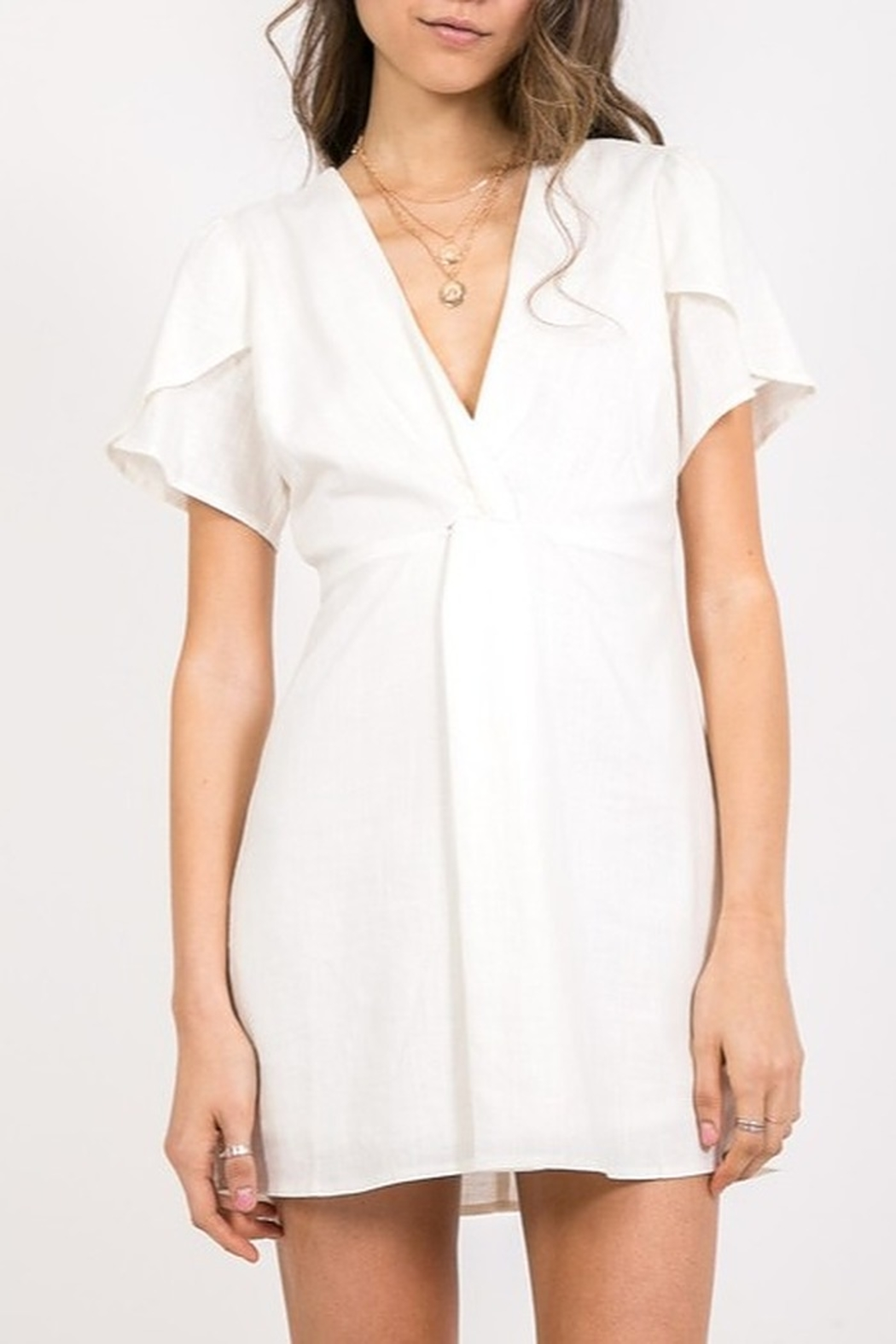 Very J Flutter Sleeve Dress - Front Cropped Image