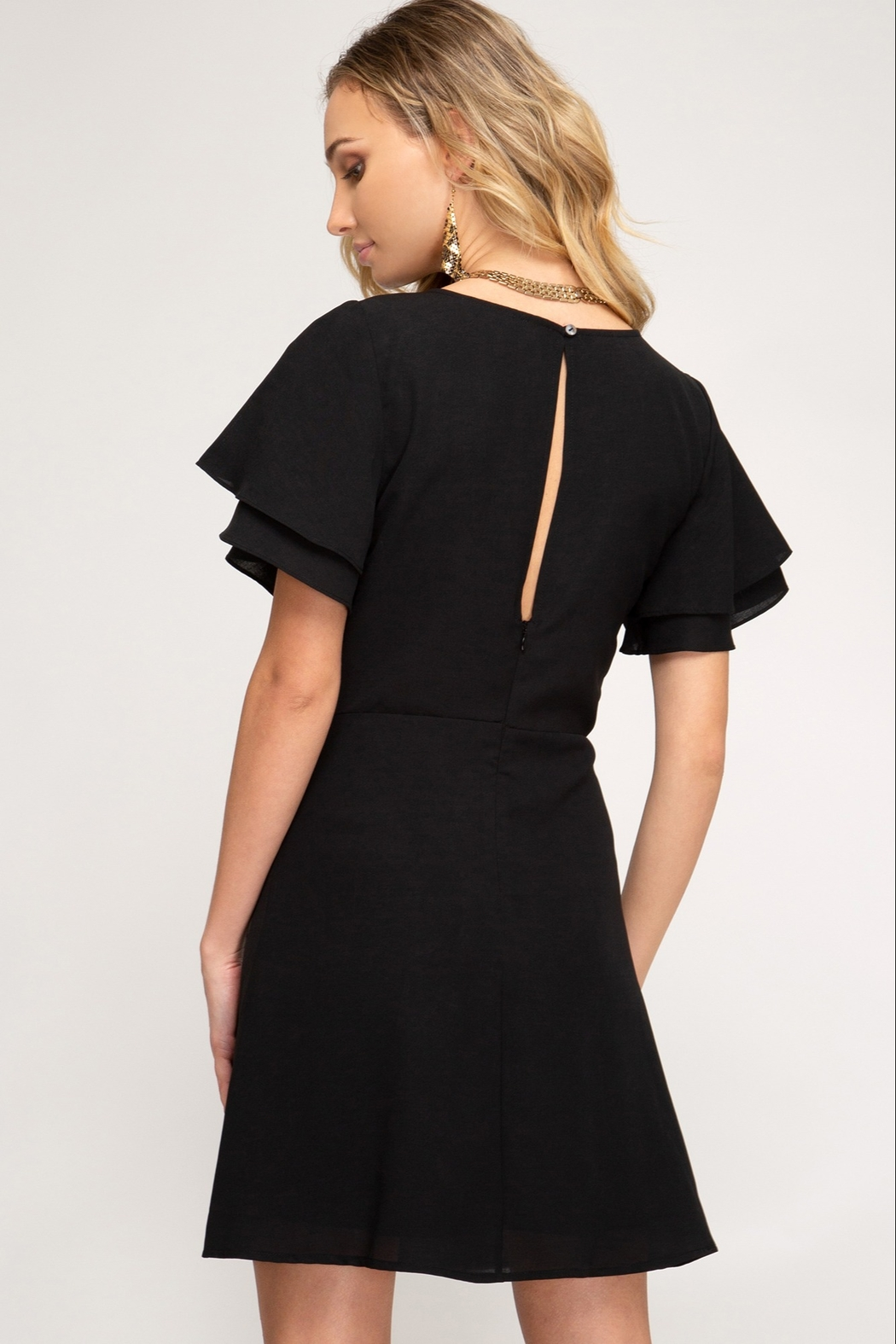 She + Sky Flutter Sleeve Dress - Front Full Image