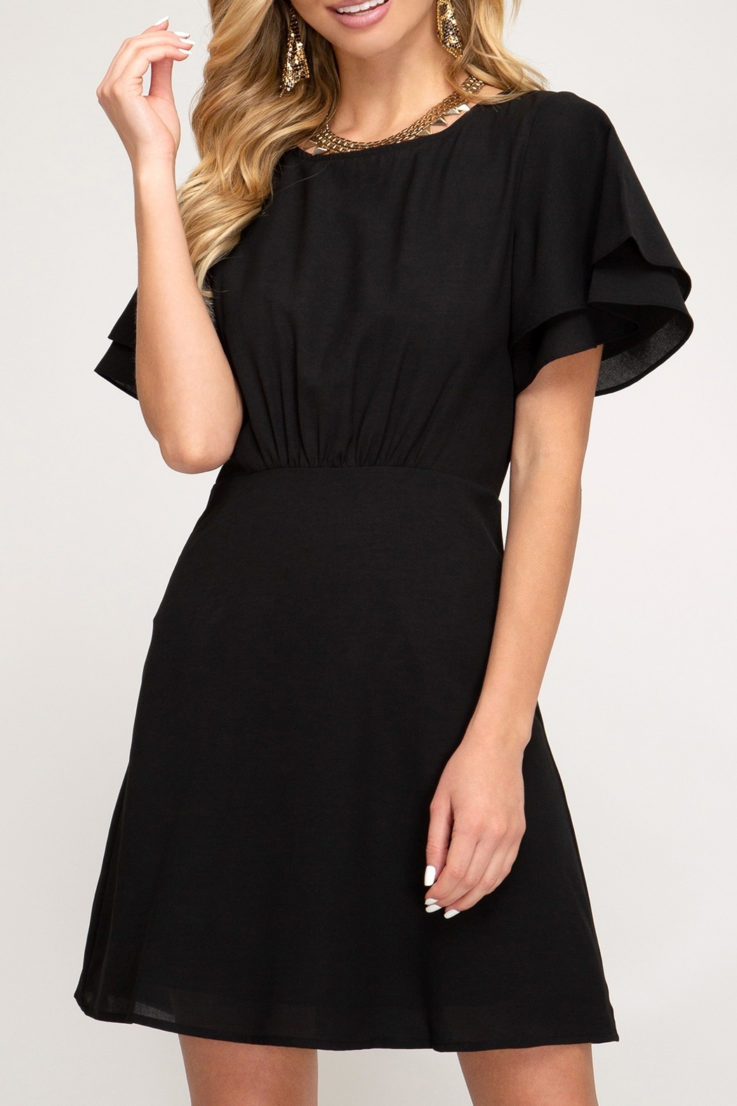 She + Sky Flutter Sleeve Dress - Front Cropped Image