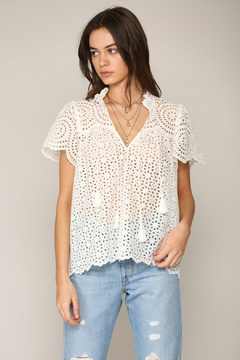 Shoptiques Product: Flutter Sleeve Eyelet Top