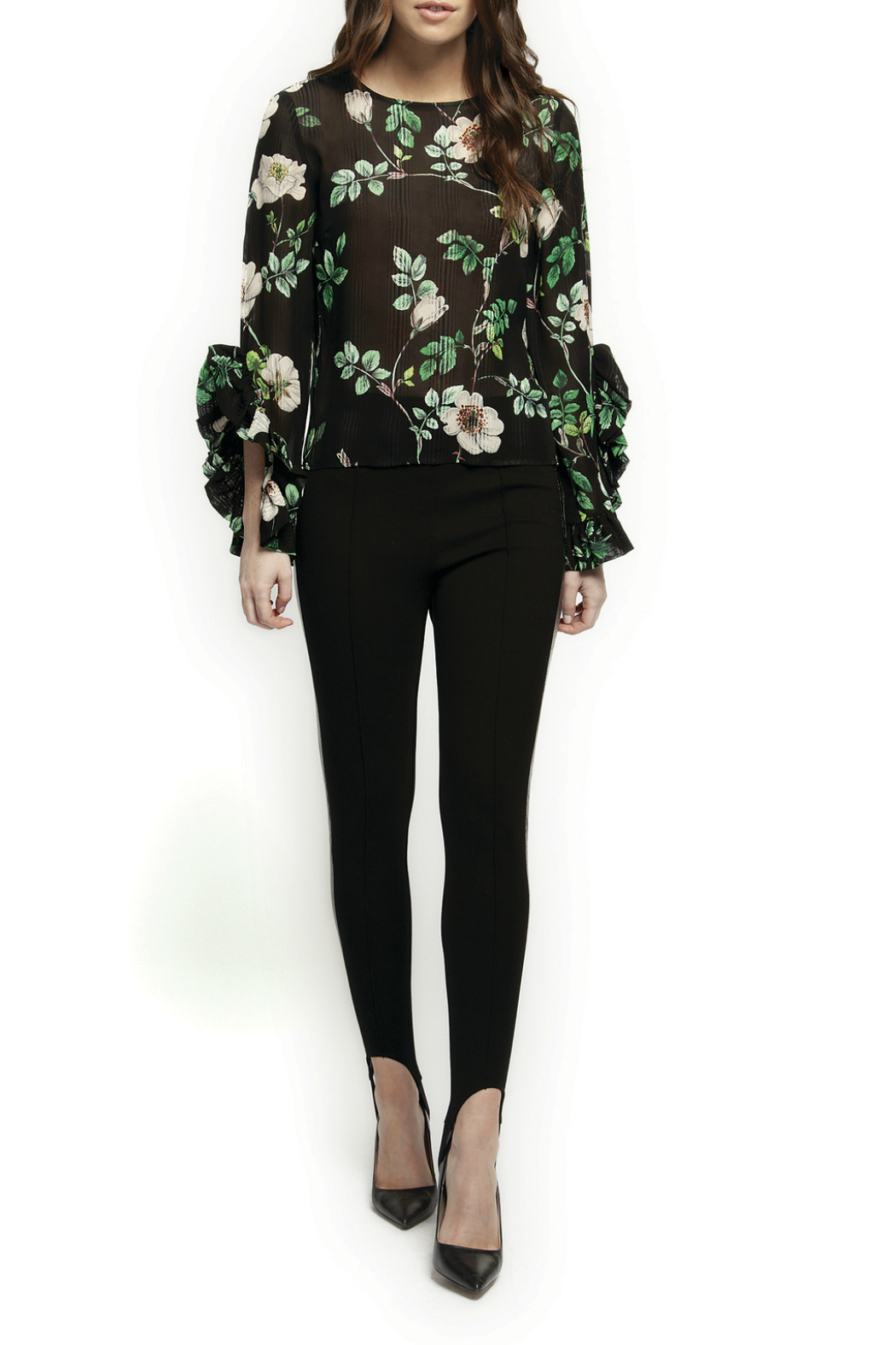 Black Tape/Dex Flutter Sleeve Floral Blouse - Main Image