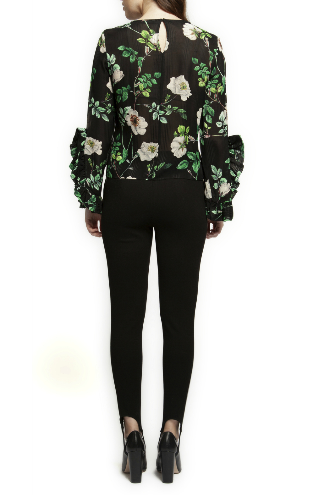 Black Tape/Dex Flutter Sleeve Floral Blouse - Front Full Image