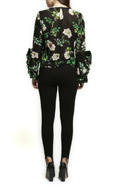 Black Tape/Dex Flutter Sleeve Floral Blouse - Front full body