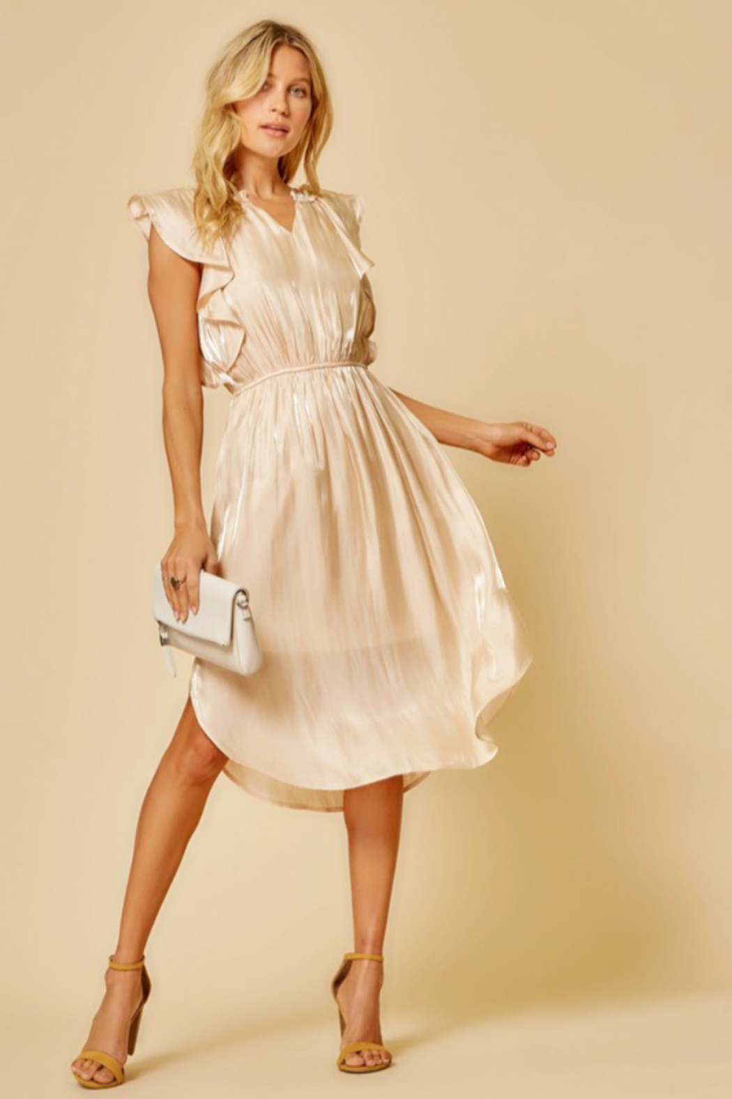 Andree by Unit Flutter Sleeve Midi Dress - Side Cropped Image