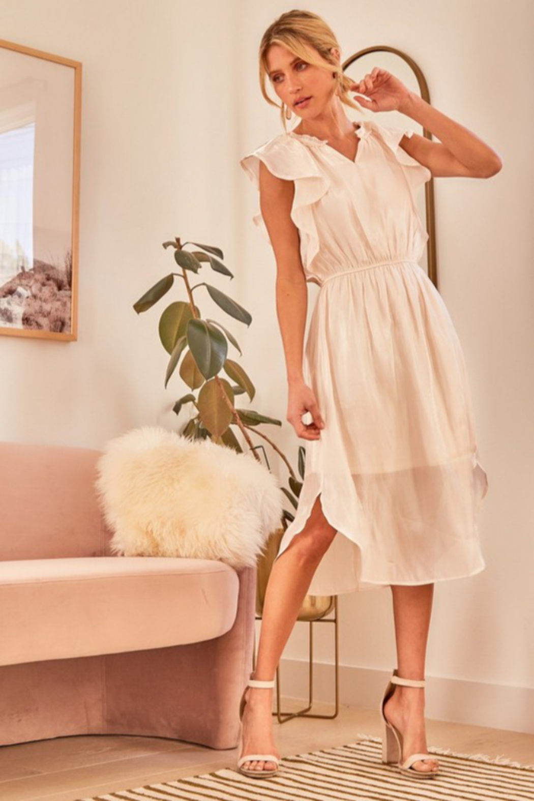 Andree by Unit Flutter Sleeve Midi Dress - Main Image