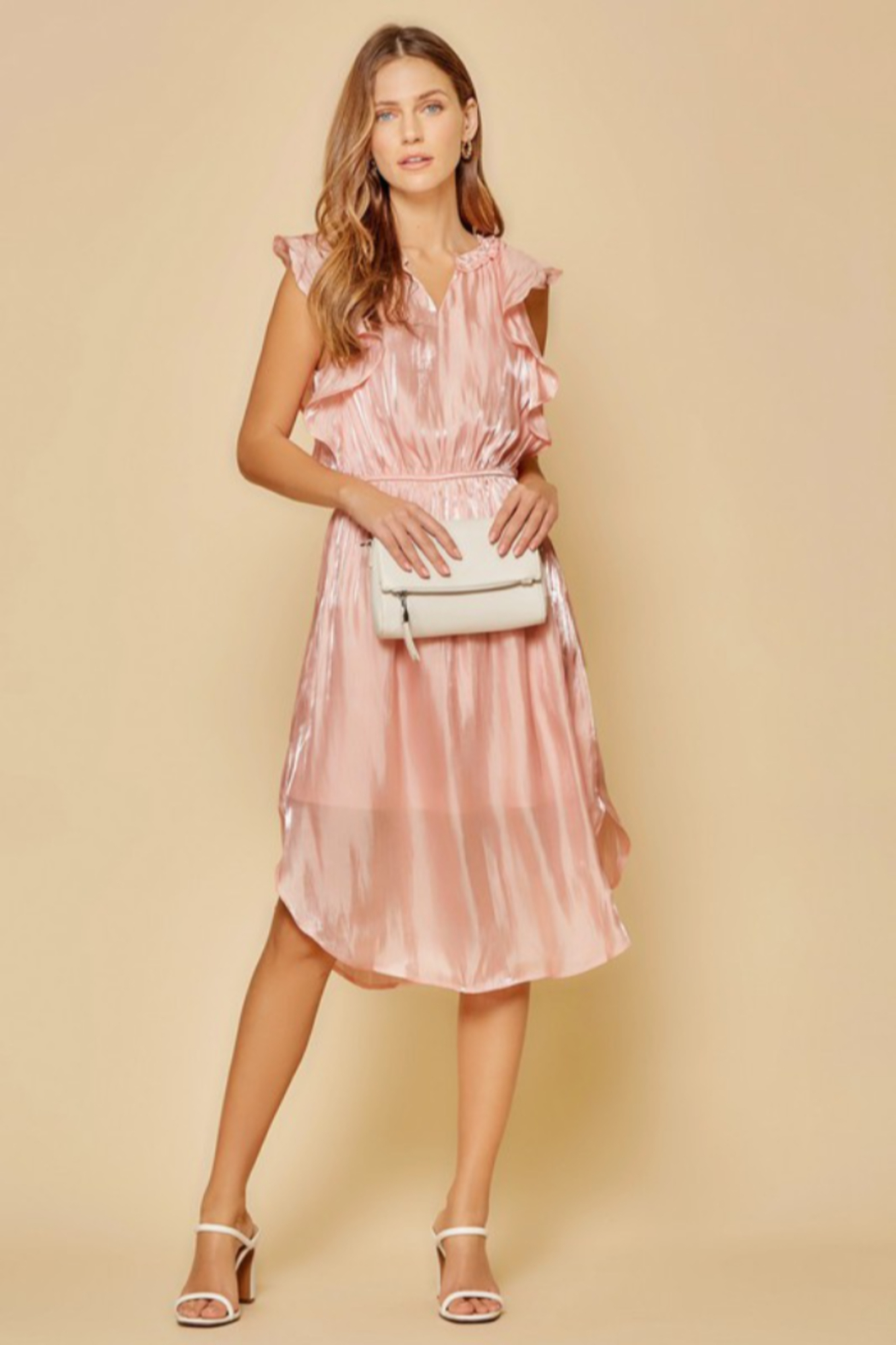 Andree by Unit Flutter Sleeve Midi Dress - Front Full Image
