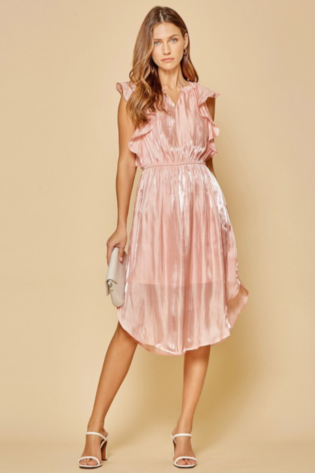 Andree by Unit Flutter Sleeve Midi Dress - Front Cropped Image