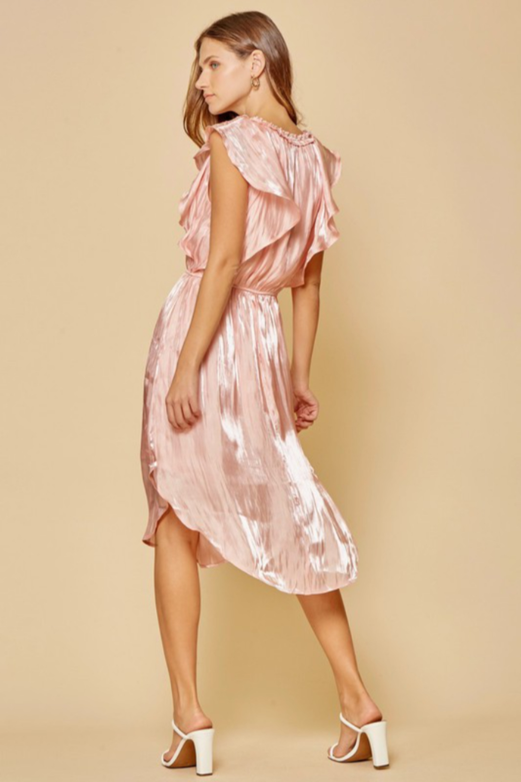 Andree by Unit Flutter Sleeve Midi Dress - Back Cropped Image