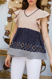 Thml Flutter Sleeve Peplum Top - Front cropped