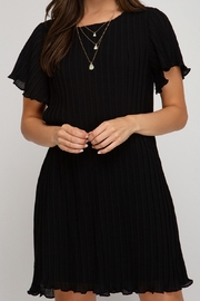 She and Sky Flutter Sleeve Pleated Dress - Product Mini Image