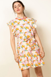 Thml Flutter Sleeve Print Dress - Product Mini Image