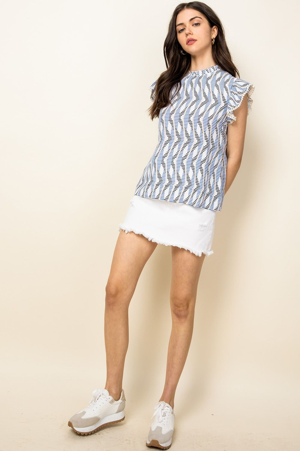 Thml Flutter Sleeve Printed Top - Front Full Image