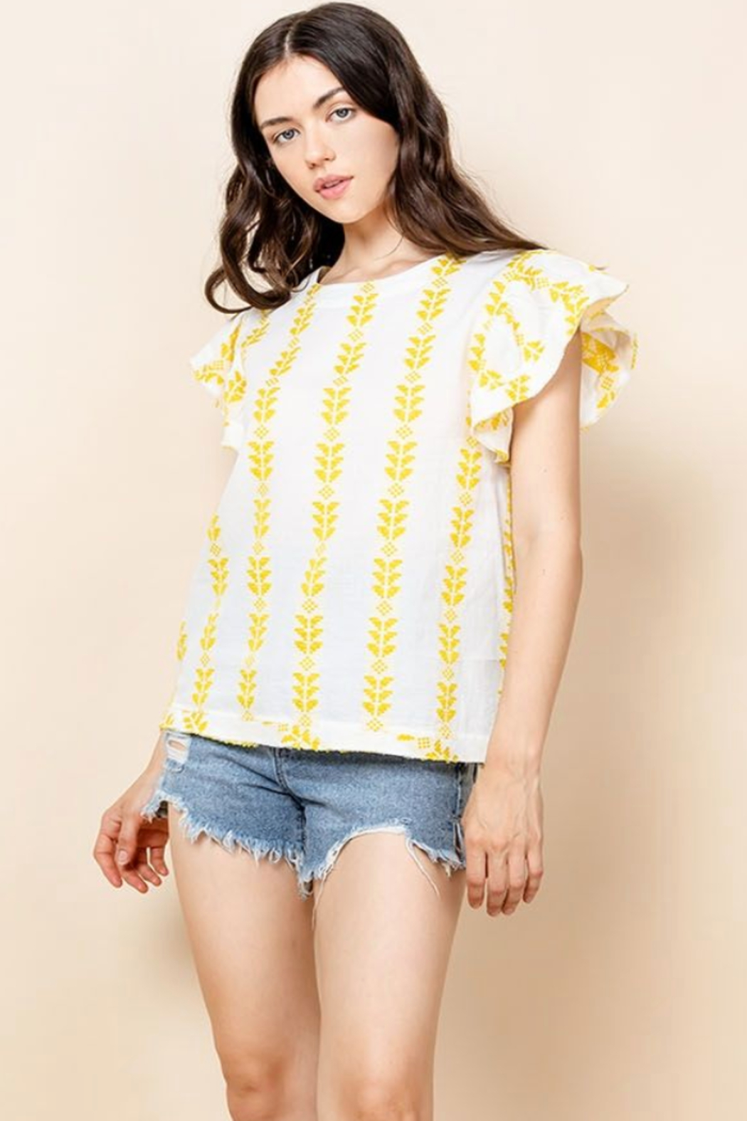 Thml Flutter Sleeve Stripe Top - Front Cropped Image