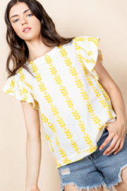 Thml Flutter Sleeve Stripe Top - Front full body
