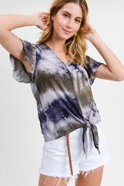 Doe & Rae  Flutter Sleeve Tie Up Top - Front cropped