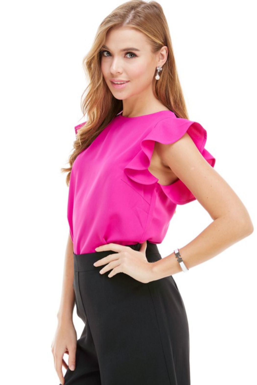 TCEC Flutter Sleeve Top - Front Full Image