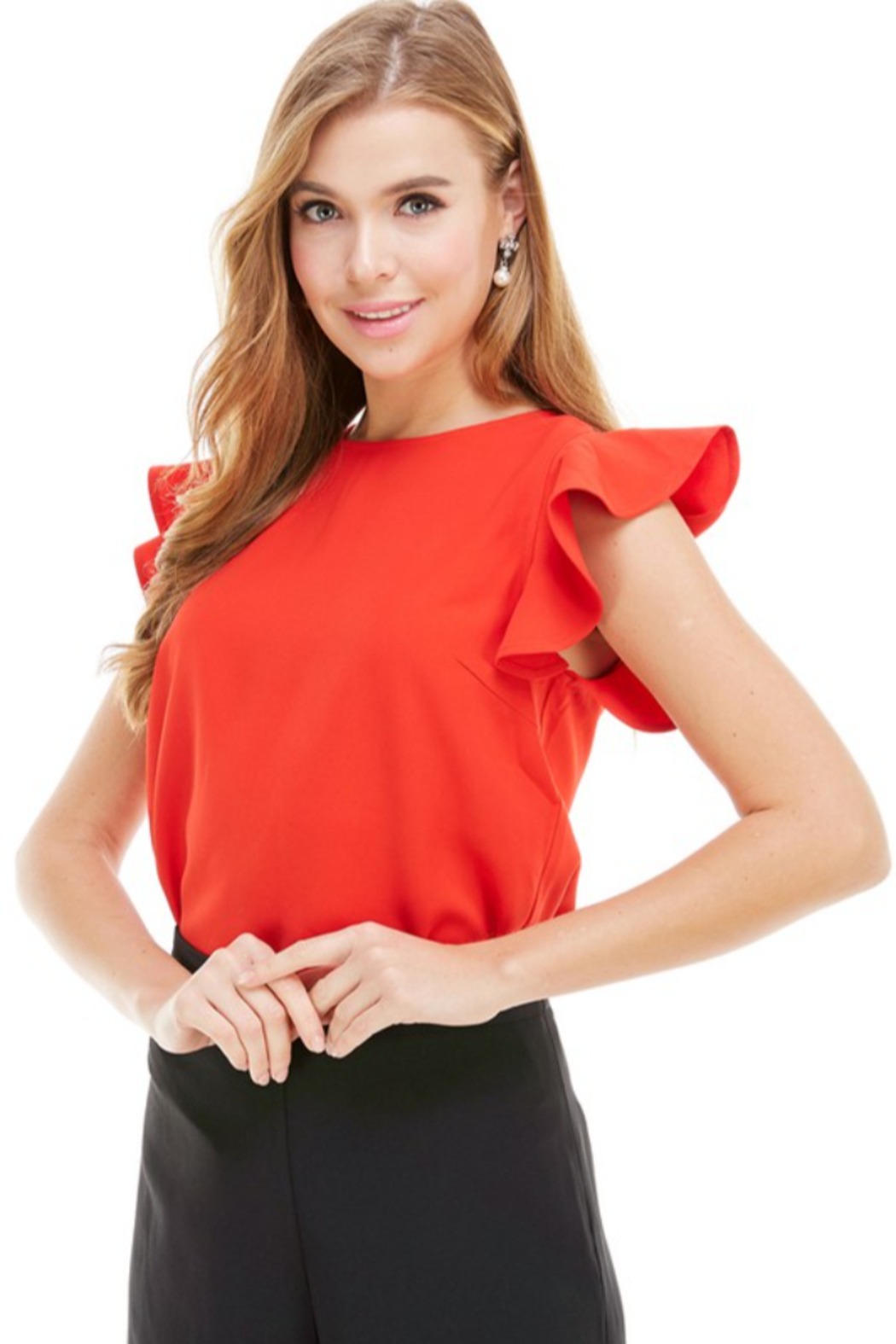 TCEC Flutter Sleeve Top - Front Cropped Image