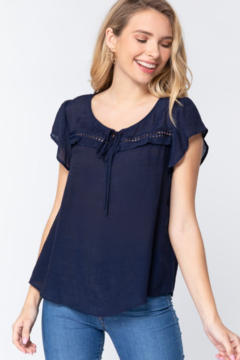 Active Basic Flutter Sleeve Top with crochet detail - Product List Image