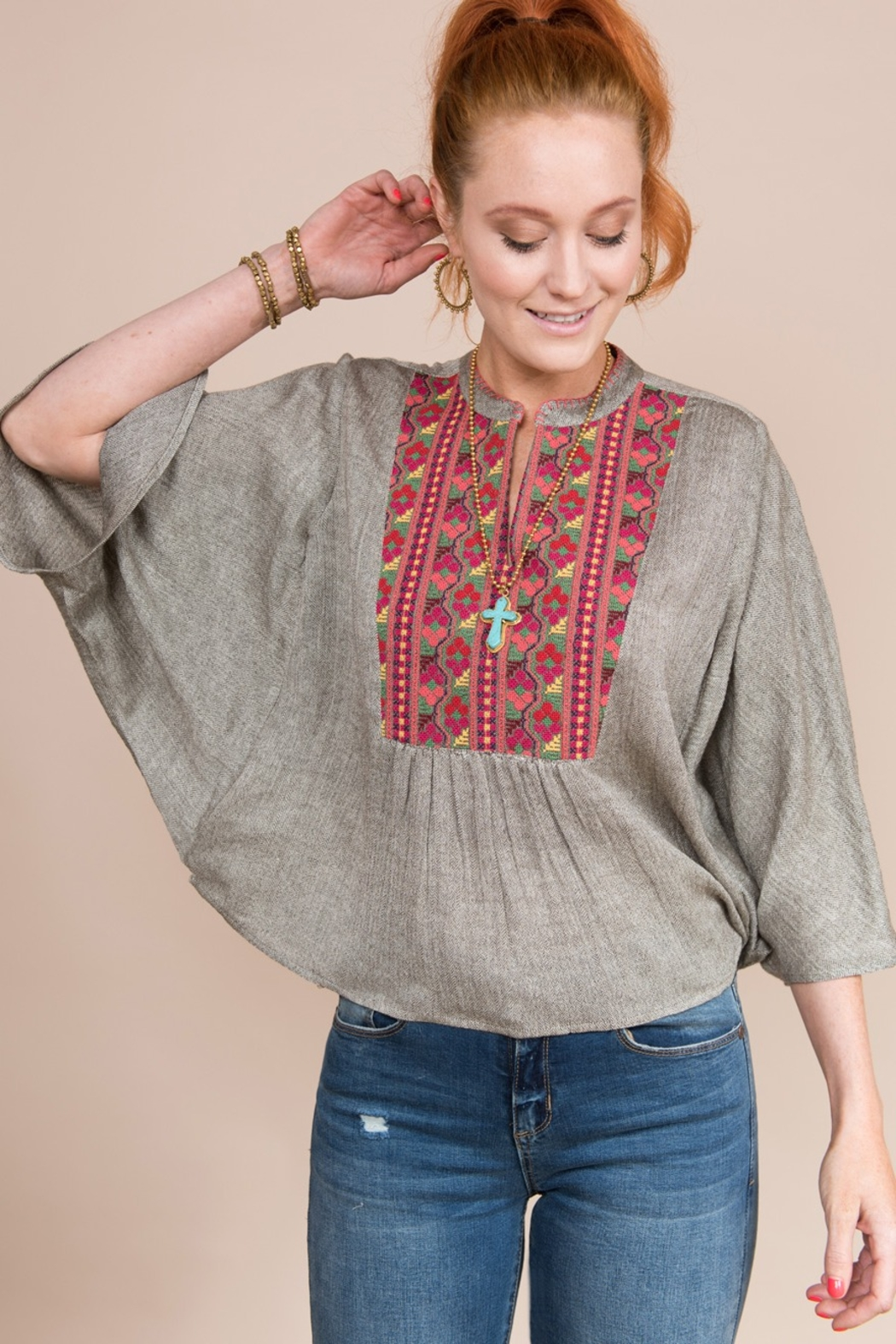 Ivy Jane  Flutter Sleeve Top With Embroidered Yoke - Main Image