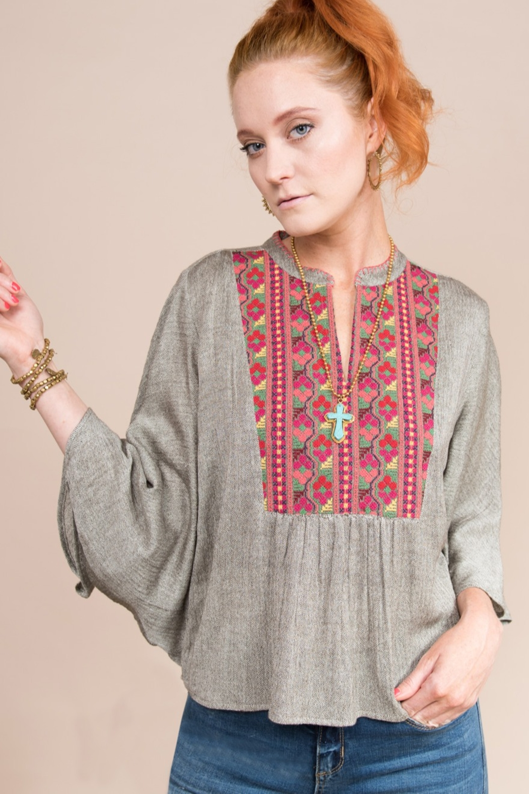 Ivy Jane  Flutter Sleeve Top With Embroidered Yoke - Front Full Image